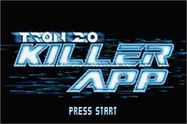 Title screen of TRON 2.0: Killer App on the Nintendo Game Boy Advance.
