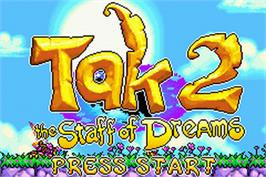 Title screen of Tak 2: The Staff of Dreams on the Nintendo Game Boy Advance.