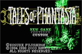 Title screen of Tales of Phantasia on the Nintendo Game Boy Advance.