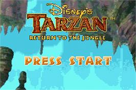 Title screen of Tarzan: Return to the Jungle on the Nintendo Game Boy Advance.