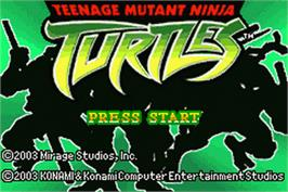 Title screen of Teenage Mutant Ninja Turtles on the Nintendo Game Boy Advance.