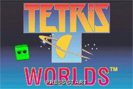 Title screen of Tetris Worlds on the Nintendo Game Boy Advance.