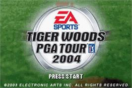 Title screen of Tiger Woods PGA Tour 2004 on the Nintendo Game Boy Advance.