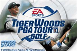 Title screen of Tiger Woods PGA Tour Golf on the Nintendo Game Boy Advance.