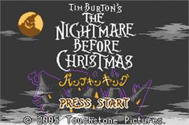 Title screen of Tim Burton's The Nightmare Before Christmas: The Pumpkin King on the Nintendo Game Boy Advance.