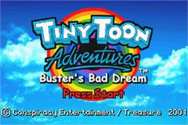 Title screen of Tiny Toon Adventures: Buster's Bad Dream on the Nintendo Game Boy Advance.