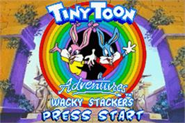 Title screen of Tiny Toon Adventures: Wacky Stackers on the Nintendo Game Boy Advance.