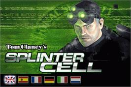 Title screen of Tom Clancy's Splinter Cell on the Nintendo Game Boy Advance.