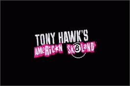 Title screen of Tony Hawk's American Sk8land on the Nintendo Game Boy Advance.
