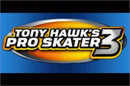 Title screen of Tony Hawk's Pro Skater 3 on the Nintendo Game Boy Advance.