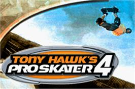 Title screen of Tony Hawk's Pro Skater 4 on the Nintendo Game Boy Advance.