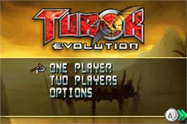 Title screen of Turok: Evolution on the Nintendo Game Boy Advance.