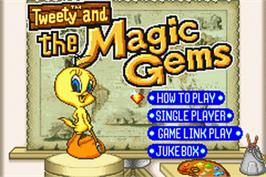 Title screen of Tweety and the Magic Gems on the Nintendo Game Boy Advance.