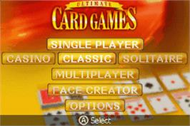 Title screen of Ultimate Card Games on the Nintendo Game Boy Advance.