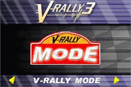 Title screen of V-Rally 3 on the Nintendo Game Boy Advance.