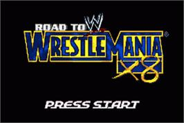 Title screen of WWE Road to Wrestlemania X8 on the Nintendo Game Boy Advance.