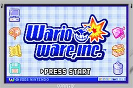 Title screen of WarioWare, Inc.: Mega Microgame$ on the Nintendo Game Boy Advance.
