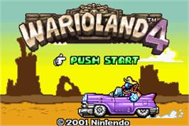 Title screen of Wario Land 4 on the Nintendo Game Boy Advance.