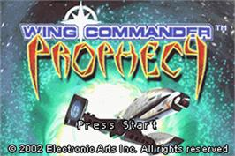Title screen of Wing Commander: Prophecy on the Nintendo Game Boy Advance.