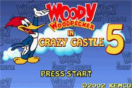 Title screen of Woody Woodpecker in Crazy Castle 5 on the Nintendo Game Boy Advance.