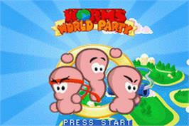 Title screen of Worms World Party on the Nintendo Game Boy Advance.