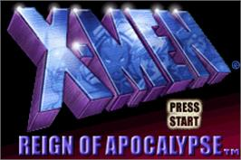 Title screen of X-Men: Reign of Apocalypse on the Nintendo Game Boy Advance.