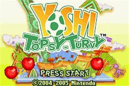 Title screen of Yoshi Topsy-Turvy on the Nintendo Game Boy Advance.