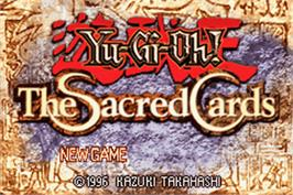 Title screen of Yu-Gi-Oh! The Sacred Cards on the Nintendo Game Boy Advance.