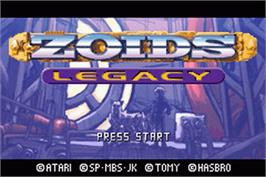 Title screen of Zoids: Legacy on the Nintendo Game Boy Advance.