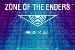 Title screen of Zone of the Enders: The Fist of Mars on the Nintendo Game Boy Advance.