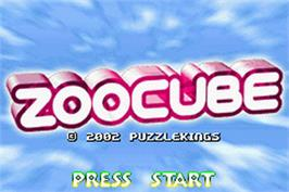 Title screen of ZooCube on the Nintendo Game Boy Advance.
