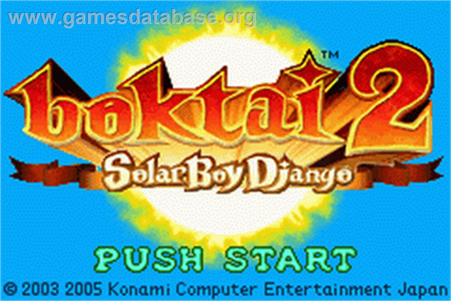 Boktai 2: Solar Boy Django - Nintendo Game Boy Advance - Artwork - Title Screen