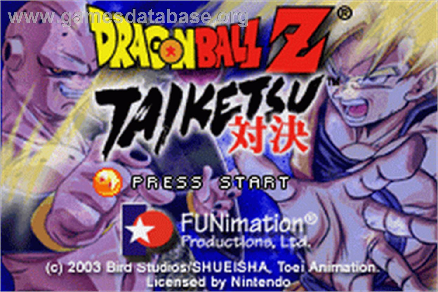 Dragonball Z: Taiketsu - Nintendo Game Boy Advance - Artwork - Title Screen