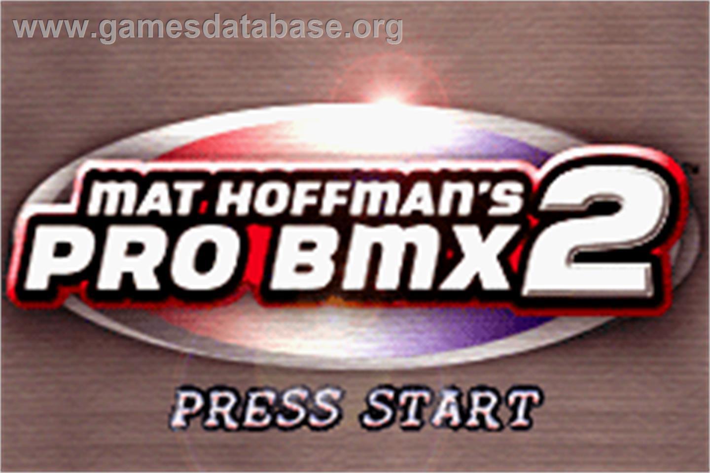 screen of Mat Hoffman's Pro BMX 2 on the Nintendo Game Boy Advance