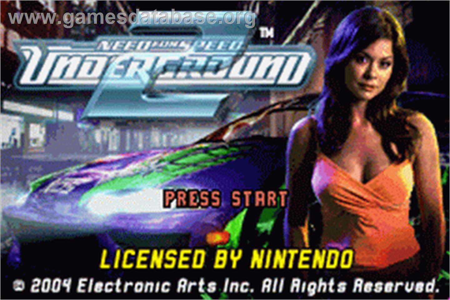Need for Speed Underground 2 - Nintendo Game Boy Advance - Artwork - Title Screen