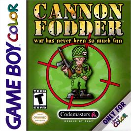 Box cover for Cannon Fodder on the Nintendo Game Boy Color.