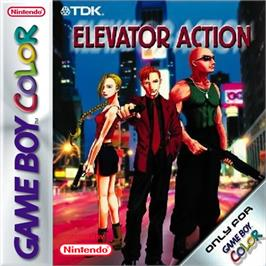 Box cover for Elevator Action on the Nintendo Game Boy Color.