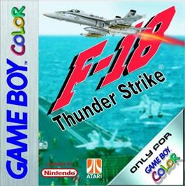 Box cover for F-18 Thunder Strike on the Nintendo Game Boy Color.