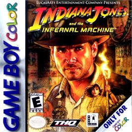 Box cover for Indiana Jones and the Infernal Machine on the Nintendo Game Boy Color.