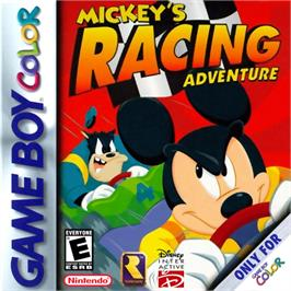 Box cover for Mickey's Racing Adventure on the Nintendo Game Boy Color.