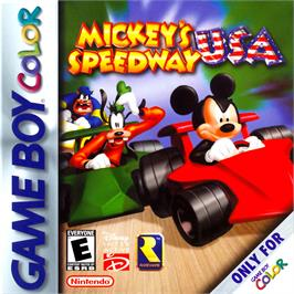 Box cover for Mickey's Speedway USA on the Nintendo Game Boy Color.