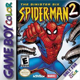 Box cover for Spider-Man 2: The Sinister Six on the Nintendo Game Boy Color.