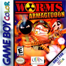 Box cover for Worms Armageddon on the Nintendo Game Boy Color.