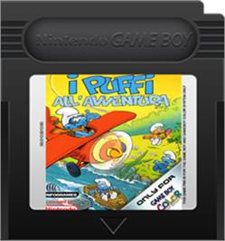 Cartridge artwork for Adventures of the Smurfs on the Nintendo Game Boy Color.