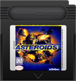 Cartridge artwork for Asteroids on the Nintendo Game Boy Color.