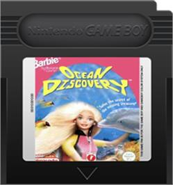 Cartridge artwork for Barbie's Ocean Discovery on the Nintendo Game Boy Color.