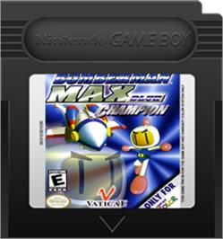 Cartridge artwork for Bomberman Max: Blue Champion Edition on the Nintendo Game Boy Color.