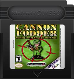 Cartridge artwork for Cannon Fodder on the Nintendo Game Boy Color.