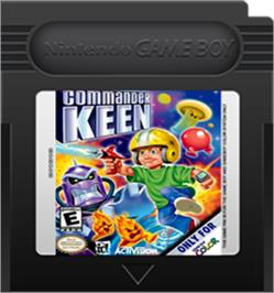 Cartridge artwork for Commander Keen on the Nintendo Game Boy Color.