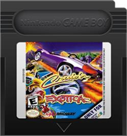 Cartridge artwork for Cruis'n Exotica on the Nintendo Game Boy Color.
